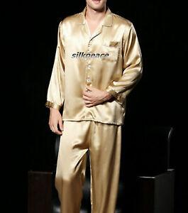 FREE SHIP Mens Satin Silk Pajamas M L XL 2XL 3XL Pyjamas Pants Lounge