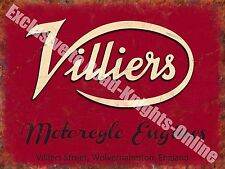 Villiers Motorcycle Engines, 110 Old Vintage Garage Spares Small Metal/Tin Sign