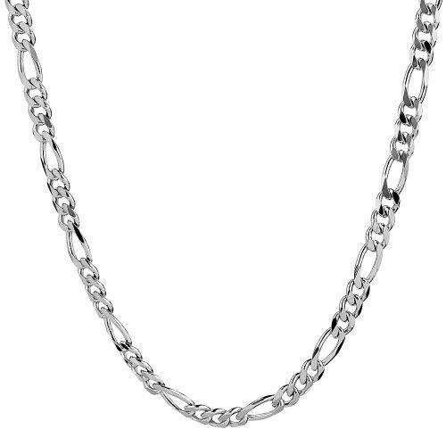 Bijoux collier bracelet argent massif 925 sterling maille gourmette figaro 1mm