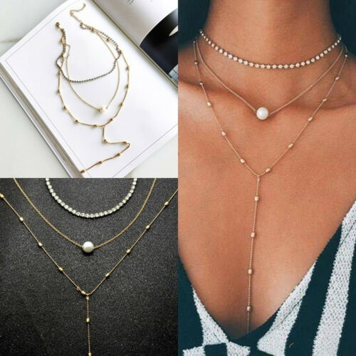 UK/_ Pretty Pearl Multilayer Chocker Necklace Chain Tassel Beads Necklace Little
