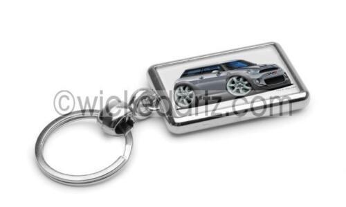 RetroArtz Cartoon Car BMW Mini Cooper S in Silver Premium Metal Key Ring