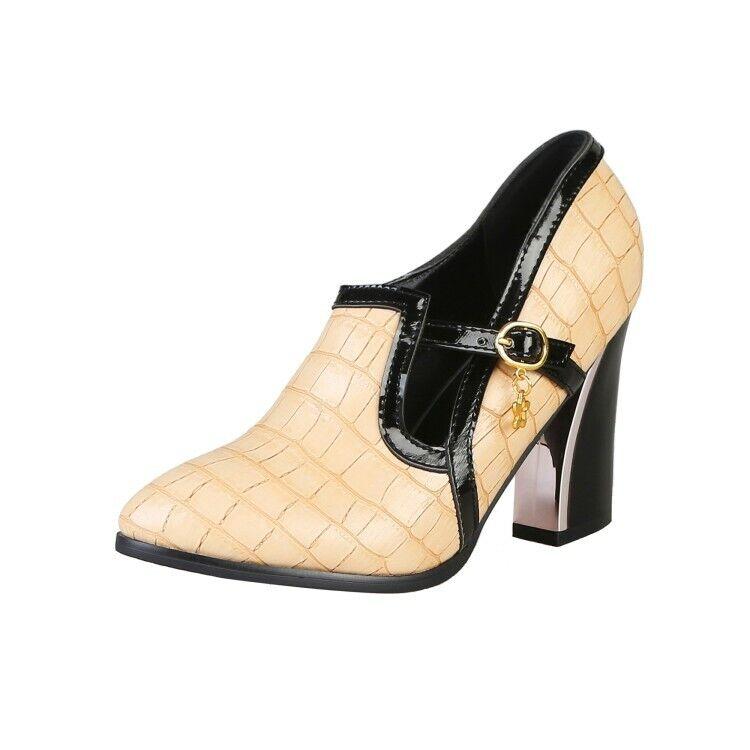 Womens Block Heels Pointy Toe Vintade Metallic Metallic Metallic Plaid Buckle Mary Jane shoes New b56dc9