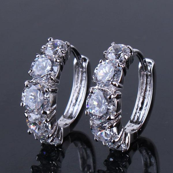Charming 18k white gold filled white Swarovski Crystal lady band hoop earring