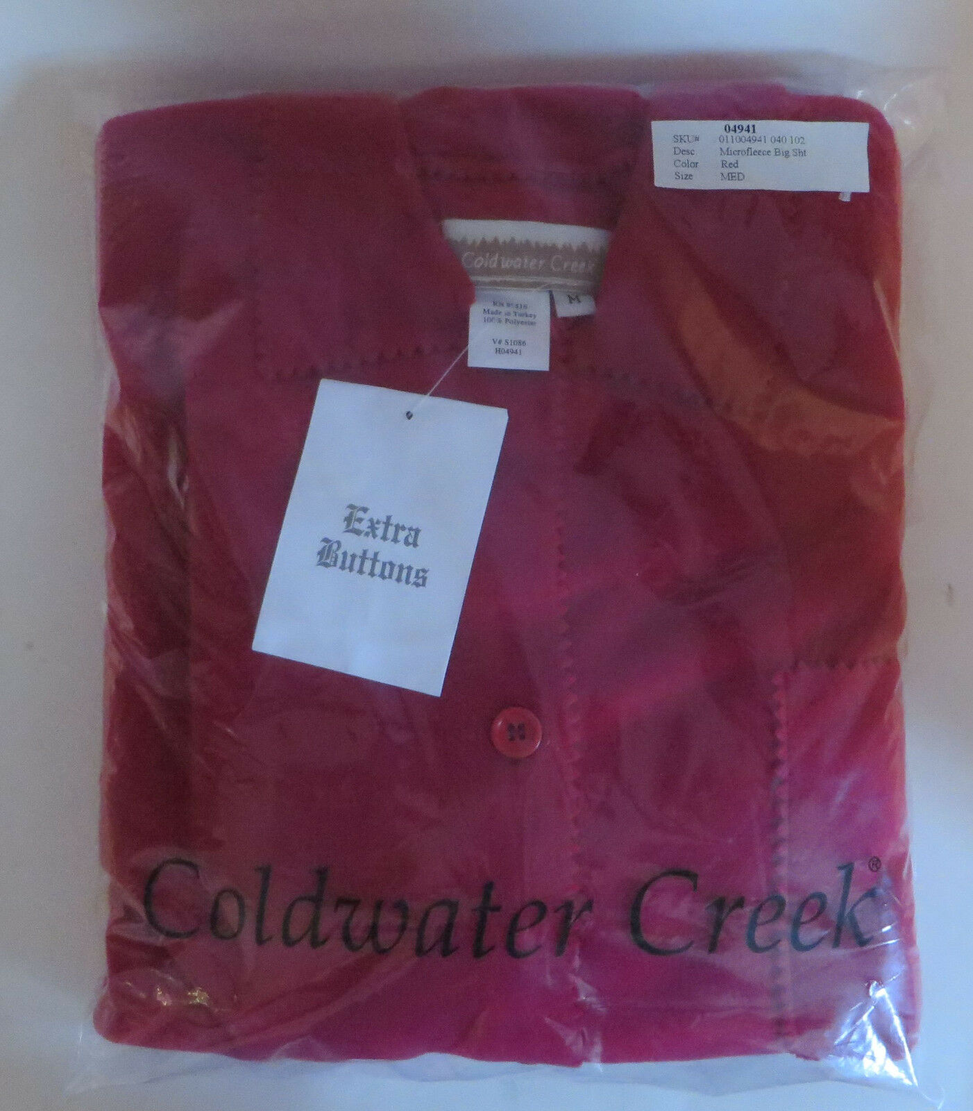 New Coldwater Creek Red Micro Fleece Shirt Pinking Shears Cut Size Med