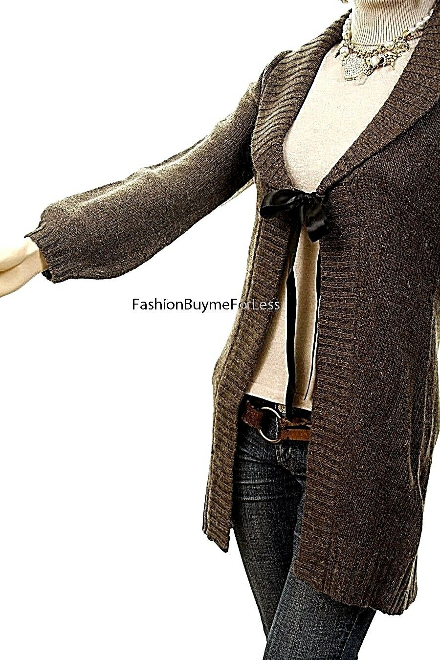 Haute BOHO Gypsy Brown Tie Collar Collar Collar Wool Cable Knit Sweater Cardigan Coat S M L 0ba76b