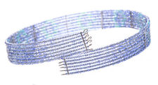 Iridescent 7 Row Blue Beads Stranded Trendy Choker Necklace(Zx8TR/145)