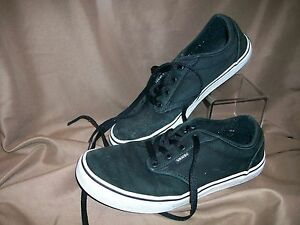 1ceb804734ae3a USED  VANS OFF THE WALL KIDS YOUTH SIZE 6 SKATEBOARD SHOES BLACK ...