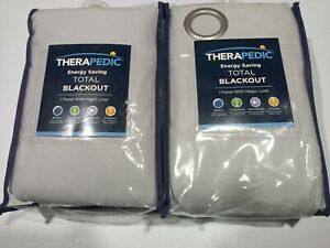 "Set of 2 Therapedic 108"" Blackout Grommet Window Curtain Panels - Silver"