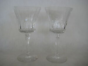 Pair-Of-Cut-Crystal-Glass-Wine-Water-Goblets-Mark-034-T-034-On-The-Bottom