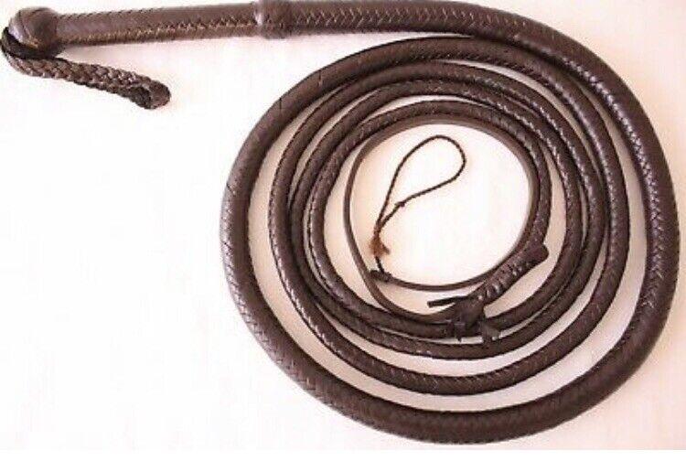 Genuine Cow Hide Leather 10 Feet Long,12 Plaited Durable Dark braun BullWhip