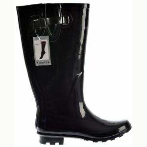91f7407080f Details about Womens Extra Wide Calf Flat Wellie Wellington Festival Rain  Boots All Colours