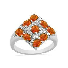 Natural hessonite garnet and White Topaz Cluster Ring 0.925 Sterling Silver