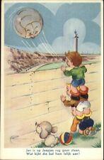 Boys Scale Fence to Watch Soccer Football - Dutch Comic Postcard c1950