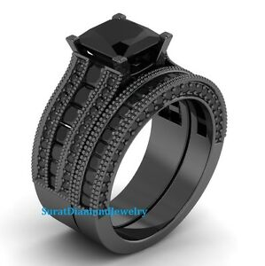Certified-4-01-ct-Black-Diamond-Bridal-set-in-14K-GOLD-Engagement-Ring-Set