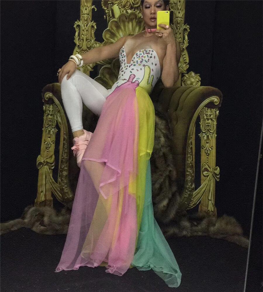 colorful Rhinestones Bodysuit Leggings Costume Female Singer Stage Wear Mash