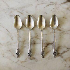 Set-4-Vintage-Antik-Gemeinschaft-Silber-Platte-Blumen-Tee-Loeffel