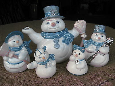 NEW Made in USA 5 piece Ceramic Snowman Serving Set Ceramic Blue Gloss Glaze