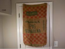 Antique NIGER SEED BAG India 100 LBS Feed Sack Jute Burlap