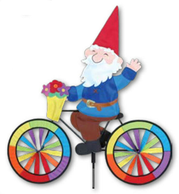 PR 26725 Garden Gnome on a Bicycle Wind Spinner..24...