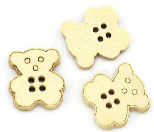 10 botones Teddy 4 hoyos madera madera botón madera botones coser bricolaje botón 20167 #