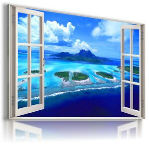 3D-PARADISE-Window-View-Canvas-Wall-Art-Picture-Large-SIZE-30X20-034-W270