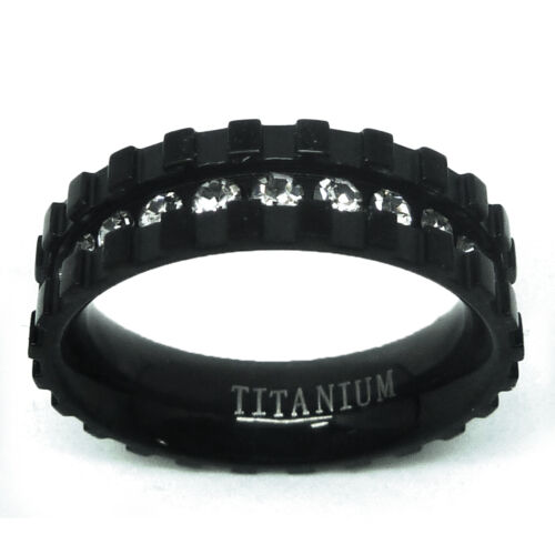 6mm Titanium Black Plated Eternity CZ Paved with Notches Wedding Band Ring