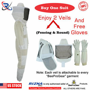 Protective Three Layer Bee Ultra Ventilated Round Veil Beekeeping Suit S