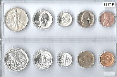 1951-D US Silver mint set 5 Choice BU coins in Whitman plastic holder