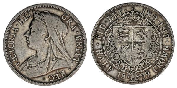 1/2 Crown - 1/2 Corona. Ag. Victoria. Uk - Royaume-uni 1899. Vf / Mbc.