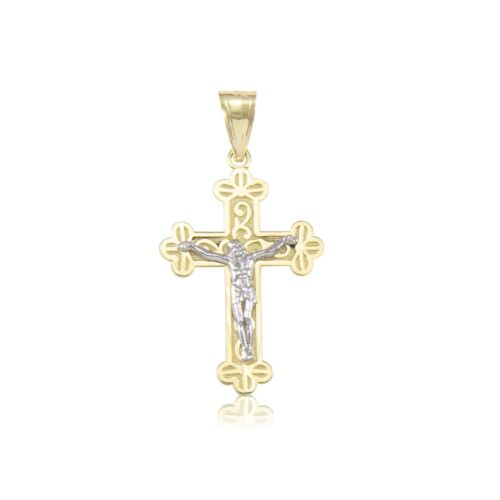 14K Solid Yellow White Gold Crucifix Cross Pendant Jesus Necklace Charm