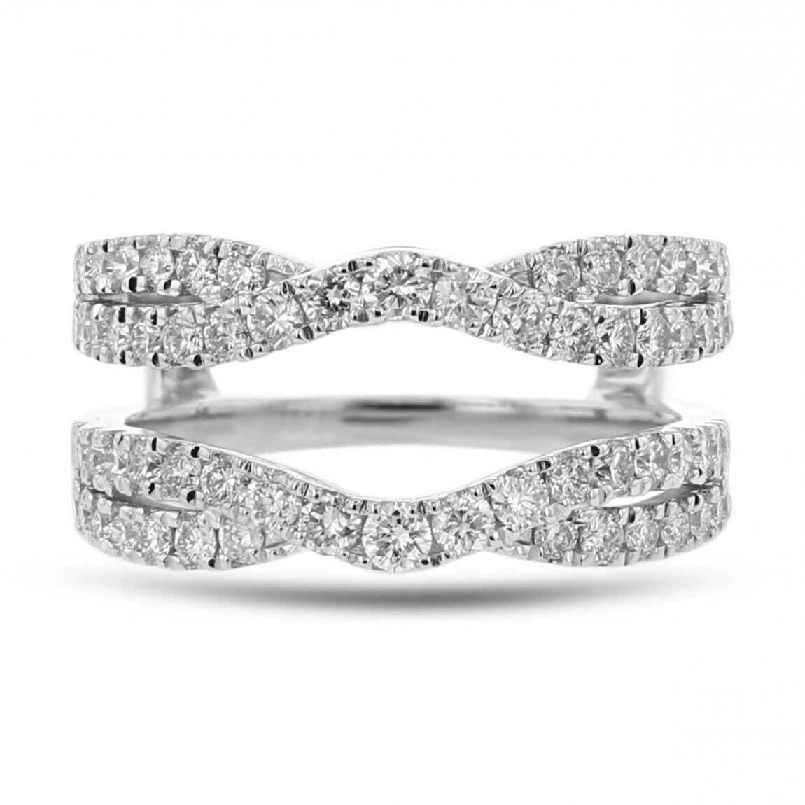 3.50 Ct Round Cut Diamond 14K Real White gold Enhancer Engagement Wrap Ring