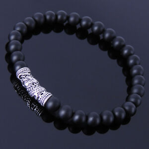 Mens Women Matte Black Onyx Sterling Silver Bracelet Dragon Charm DIY-KAREN 270