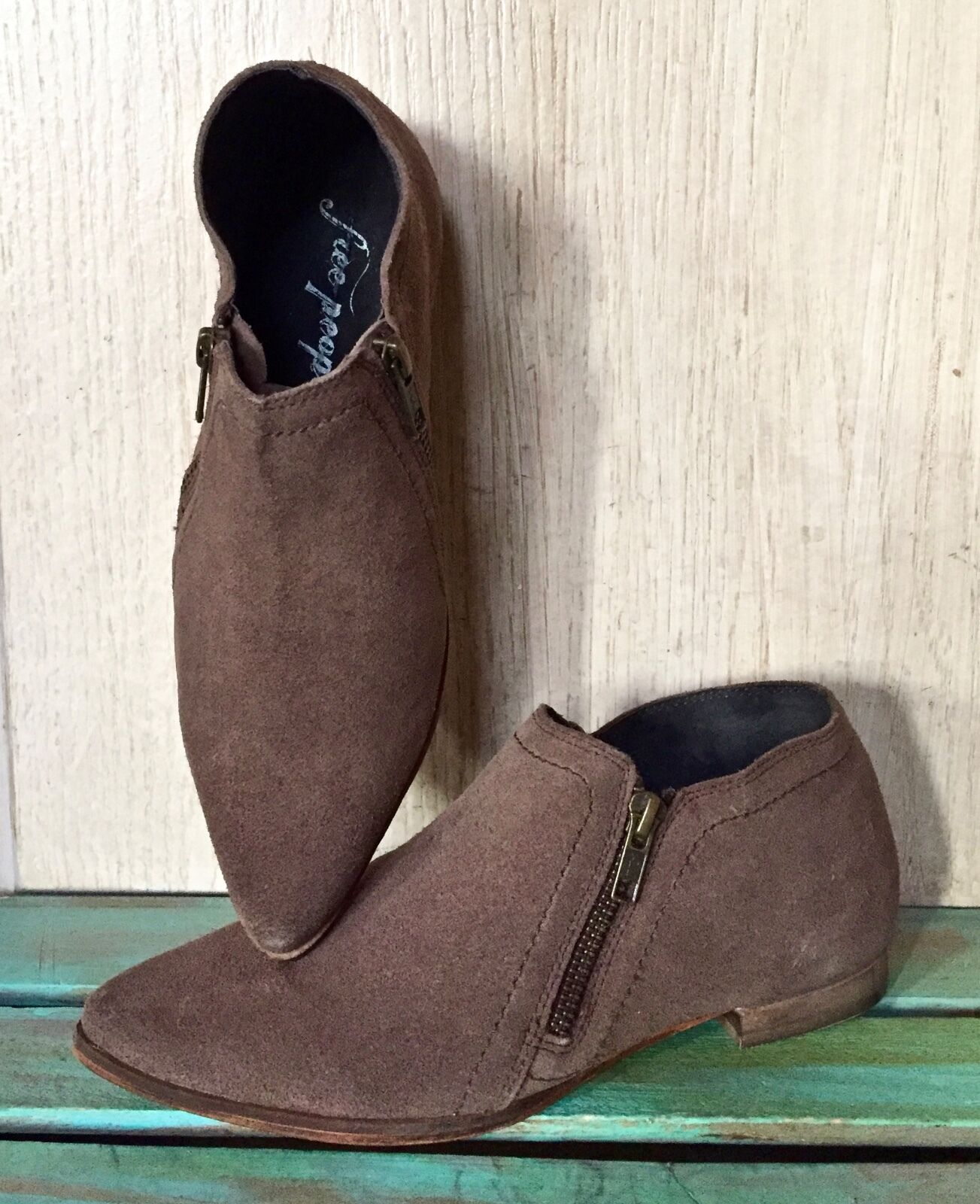 NIB Free People taupe brown suede In Sight Zipper Pointed Toe Boots 37   6-6.5