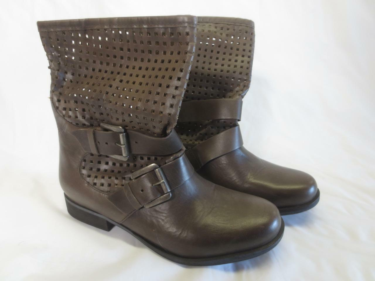 Steve Madden Brown Leather Womens Ankle Boots Size 7.5 M