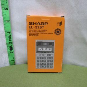SHARP EL-326T solar cell calculator 1986 algebraic logic w/ box Elsimate LCD