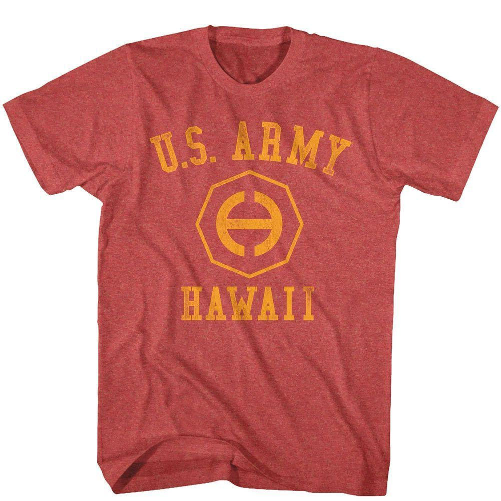 Official Army Hawaii Logo T-Shirt Sizes SM - 5XL Red Heather Cotton Blend New