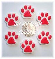 6pc Red Paw Print Flatback Flat Back Resins 4 Football Hairbow Bow Dog Collar