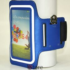 Fascia Da Braccio Per Samsung Galaxy S4 S3 Custodia Sport da Corsa Armband Blu