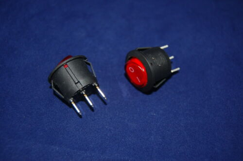 5 Pcs RED Light Illuminated Round 2 Position Boat Rocker Switch 3 Pin 120V AC