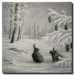 christiane schwarz winterlandschaft mit hasen ca 60x60cm kunst original bild ebay. Black Bedroom Furniture Sets. Home Design Ideas