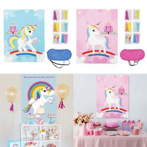 Unicorn-Party-Pin-La-Corne-de-Licorne-Autocollant-Mural-Jeu-Enfants-Cadeau-D-039-anniversaire-Faveur