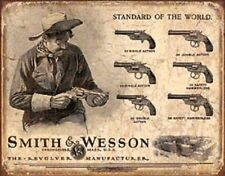 METAL SIGN SMITH AND WESSON REVOLVERS STANDARD OF THE WORLD APO/&FPO OK