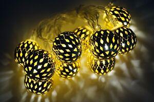 Lichterkette-10-LED-Gold-Ball-Metall-Kugel-Warmweiss-Batterie-KV