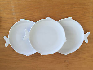 Image is loading 3-Cute-Fish-Shaped-Snack-Plates-Melamine-Beach- & 3 Cute Fish Shaped Snack Plates Melamine Beach Decor 7 1/8\