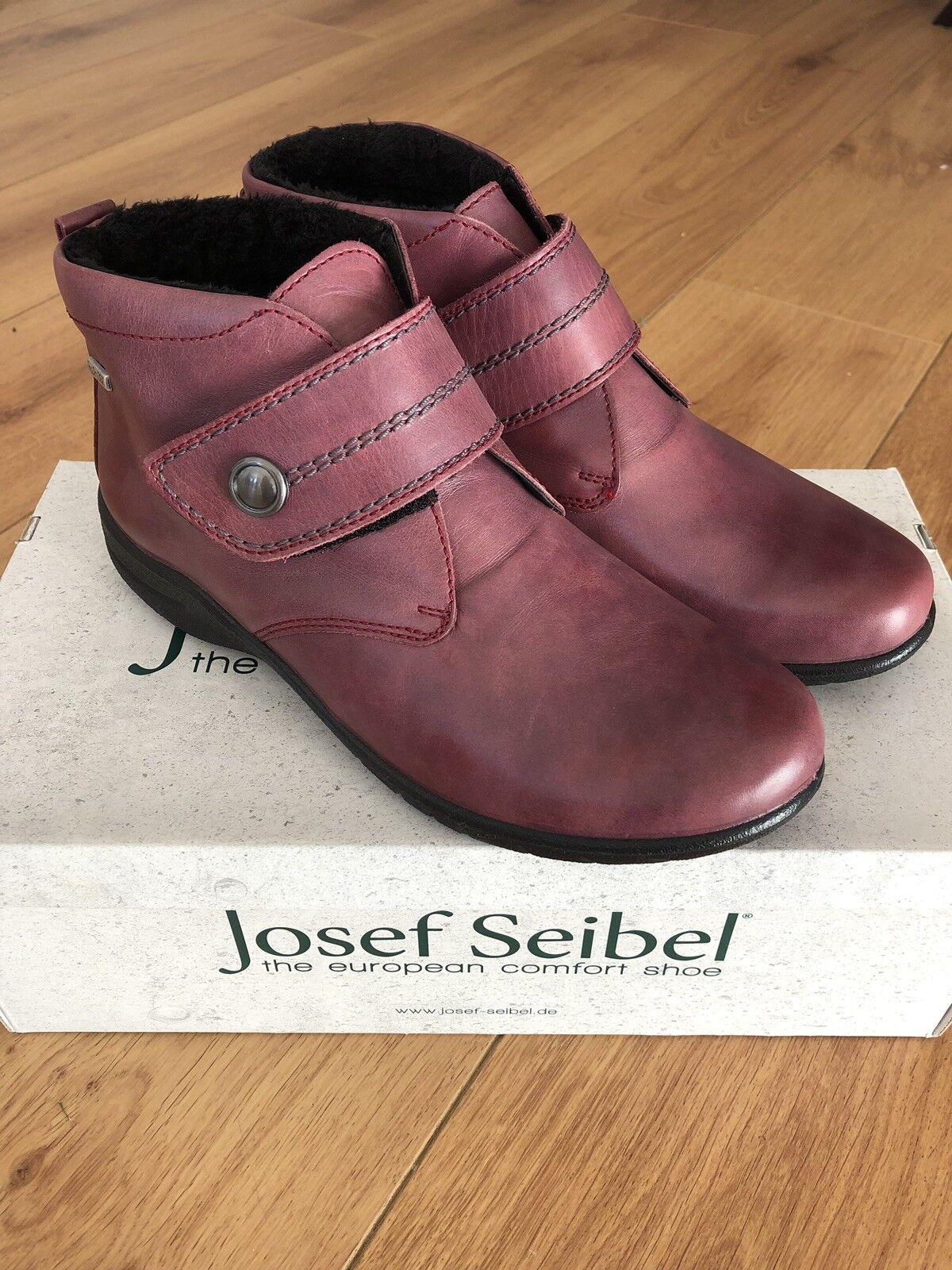 Nuovo di Zecca Josef Seibel Donna Pelliccia /41 Sintetica Stivaletti Velcro-Pelle Rossa /41 Pelliccia dfec30