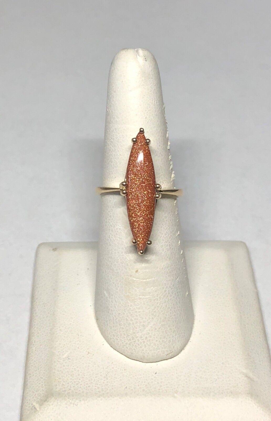 14K Yellow gold Marquise-cut goldstone Venturina Ladies Solitaire Ring
