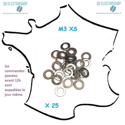 Rondelles M3 inox A2 XS M ou L X25 S