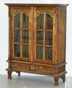 STUNNING-HAND-CARVED-ANTIQUE-FRENCH-LOUIS-18TH-19TH-CENTURY-BOOKCASE-CABINET