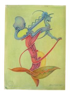 50er Jahre Zeichnung Fritz Klee original Pastell 1952   31cm 22,5cm Mid Century