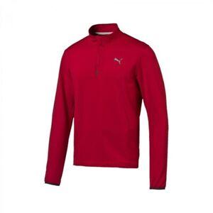 Puma NightCat Mens 1//4 Zip Running Fitness Track Top Shirt Red
